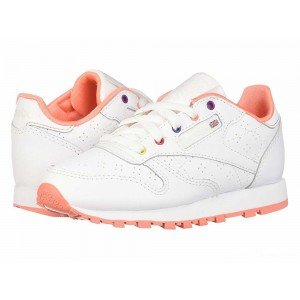 Reebok Kids Classic Leather Perf (Little Kid) White/Pink/Teal/Aubergine [Sale]