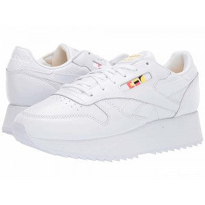 Reebok Lifestyle Classics Leather Double Gigi-White/Neon Red/Black [Sale]