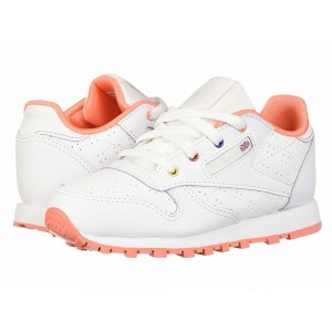 Reebok Kids Classic Leather Perf (Infant/Toddler) White/Pink/Teal/Aubergine [Sale]