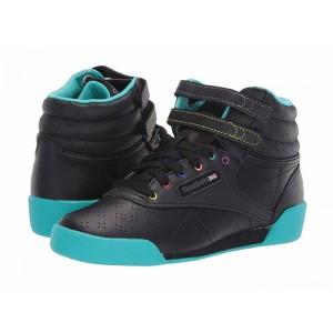 Reebok Kids F/S Hi (Toddler/Youth) Black/Teal/Grey [Sale]