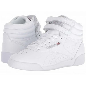 Reebok Kids Freestyle Hi (Big Kid) White [Sale]